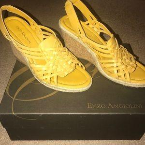 Enzo Angiolini Eadrme dark yellow wedge sandals